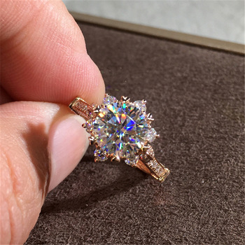 14K Rose Gold 2 Carat Diamond Ring for Women Fashion 925 Silver Color Jewelry Pure Bizuteria Gemstone Anillos De Wedding Ring 14k 3 colors gold diamond ring for women topaz 1 carat gemstone bizuteria anillos silver jewelry engagement diamond ring box