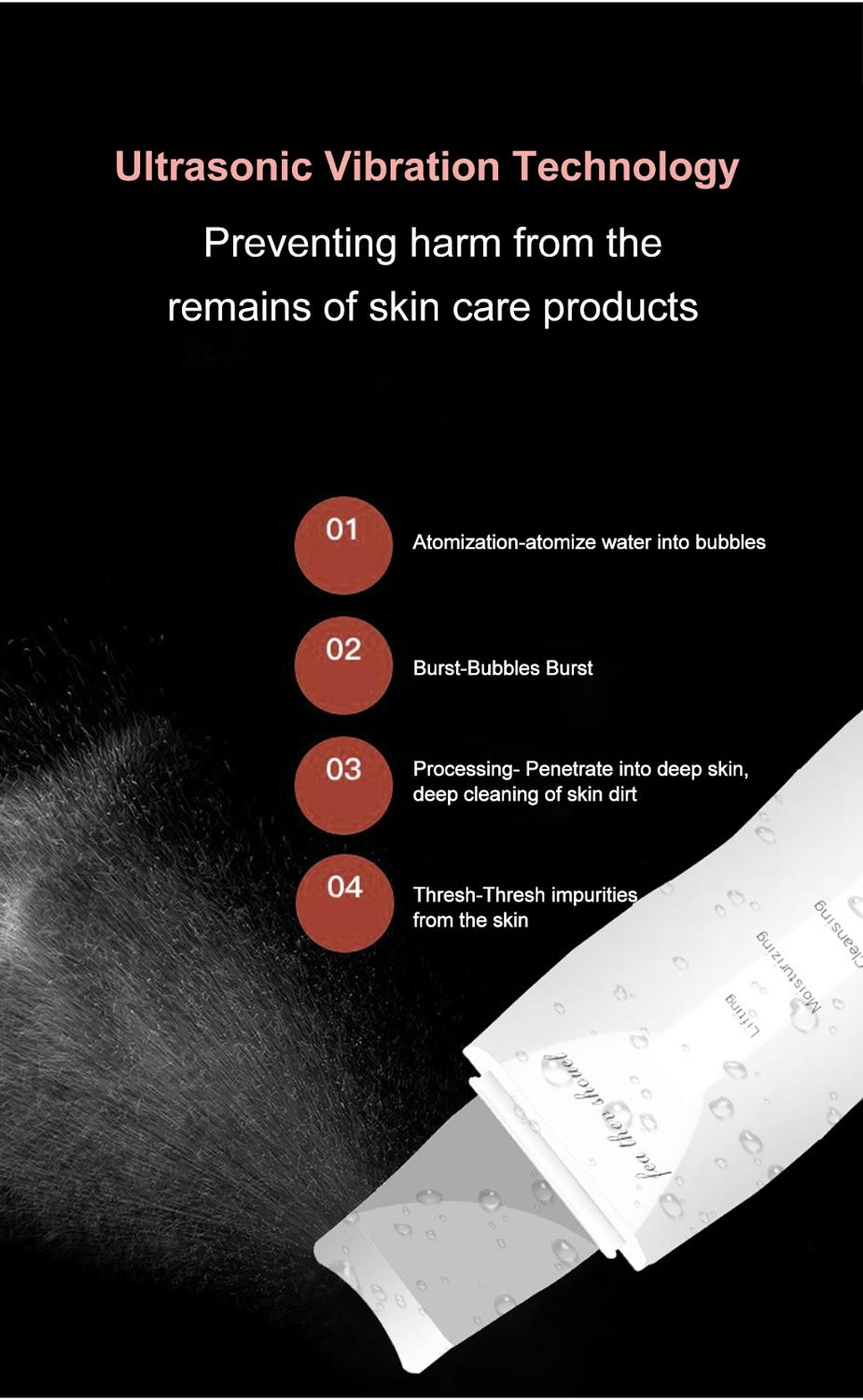 Ultrasonic Facial Skin Scrubber Peeling Ion Deep Face Cleaning Blackhead Removal Rechargeable Skin Lifting Device Beauty Tool