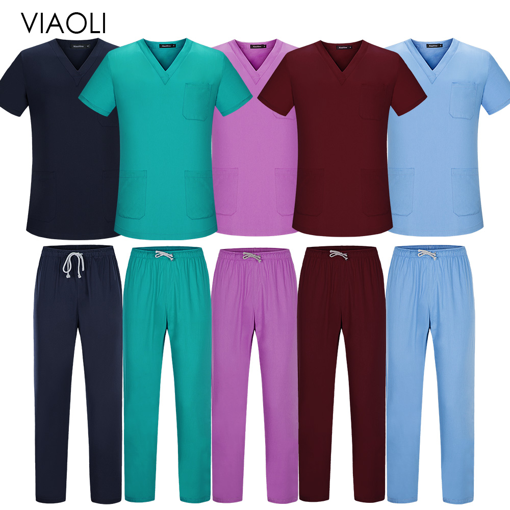 Viaoli Unisex Medical Uniform Short Sleeved Tops Pants Doctor Clothing Work Clothes Men Nursing Uniform Scrubs Women Scrub Sets