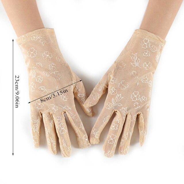 Mode femme Sexy habillé gants plein doigt femmes dame dentelle mitaines accessoires de fête été crème solaire filles gants minces