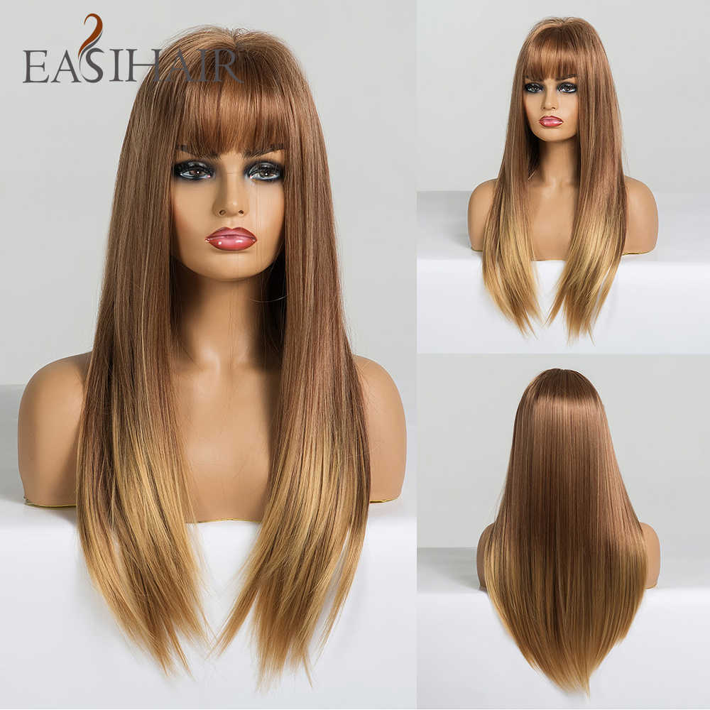 EASIHAIR Long Straight Light Blonde Ombre Wigs with Bangs Synthetic Wigs for Black Women Cosplay Wigs High Temperature Fiber Wig