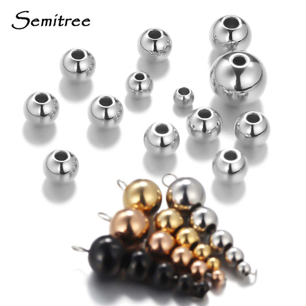 Semitree 3mm 4mm 6mm 8mm Stainless Steel Rose Gold Black Spacer Beads Charm Loose Beads DIY Bracelets Beads for Jewelry Making