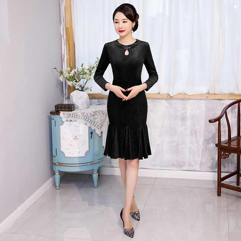 2019 vestido de debutante 2020 novo veludo cheongsam mostrar estilo chinês peixe cauda curta saia plissada melhorada de alta qualidade freira