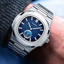PLADEN מכירה לוהטת באיכות גבוהה יוקרה גברים שעון כחול פטק נירוסטה נאוטילוס שעונים עבור גברים שעונים למעלה מותג יוקרה מתנה
