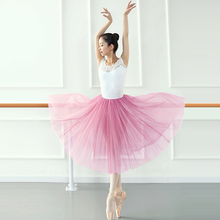 Falda de Ballet de 80cm de largo para adultos, falda de tul para ver a través de una sola capa con cintura elástica, disponible en color rosa, blanco y negro