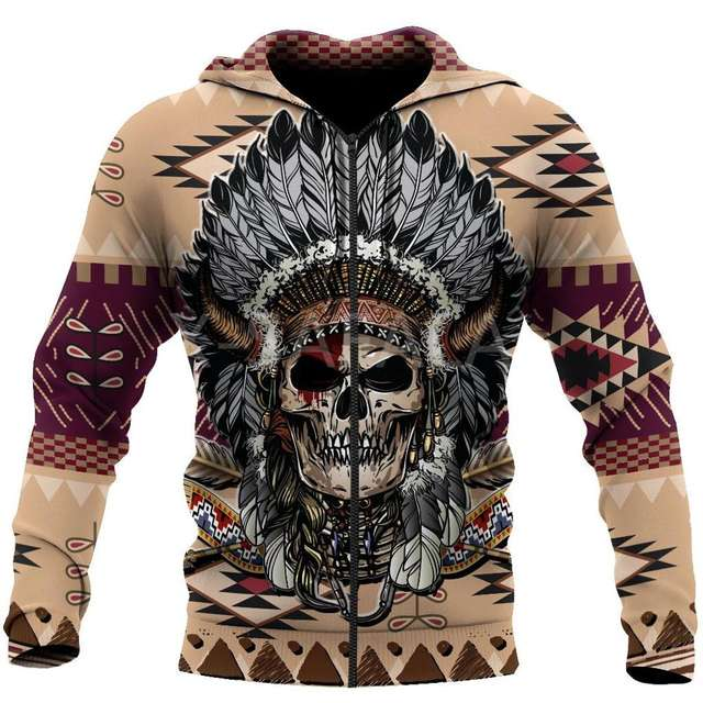 INDIAN SKULL THEMED 3D HOODIE