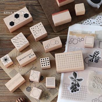 Vintage geometryczne numery planista znaczek DIY drewniane i gumowe stemple do scrapbookingu papiernicze Scrapbooking standardowy znaczek dekoracji tanie i dobre opinie CN (pochodzenie) Wooden Stamp Stamp Wood Diary Stamp