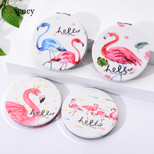 Vicney 2019 New Mini Pocket Cosmetic Mirror Fashion Flamingos Makeup Mirrors Compact Beauty Double-Sided Mirror Magnifier Mirror engrave letters free bling crystal mini beauty pocket mirror makeup compact mirror pearl sunflower stainless steel wedding gifts