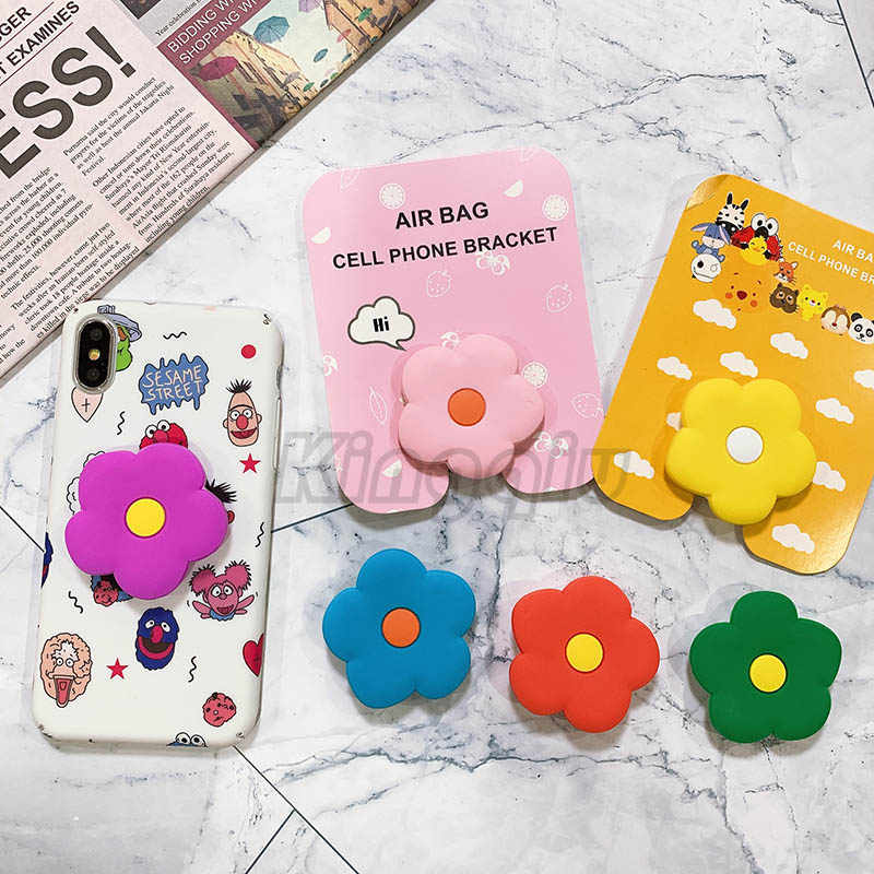 Universal phone Stand bracket Expanding Stand stretch grip phone Holder Finger Cute cartoon flowers stand for iphone X XS