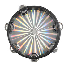 8inch Colorful Hand Drum Double Row Jingle Hand Percussion Instrument Percussion Rainbow Tambourine Laser Wooden Tambourine