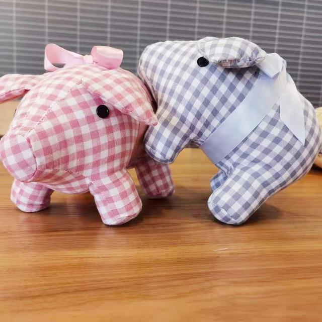 25cm Check Cloth Piggy Doll Standing Satin Dressed Small Pig Animal Toy Brown Blue Pink Wedding Children Present 1