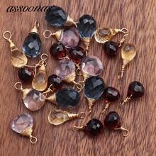 Assoonas M550, fai da te di cristallo, 18K oro, accessori dei monili, Naturale della pietra preziosa, monili che fanno, risultati dei monili, orecchino pendente, 6 pz/lotto