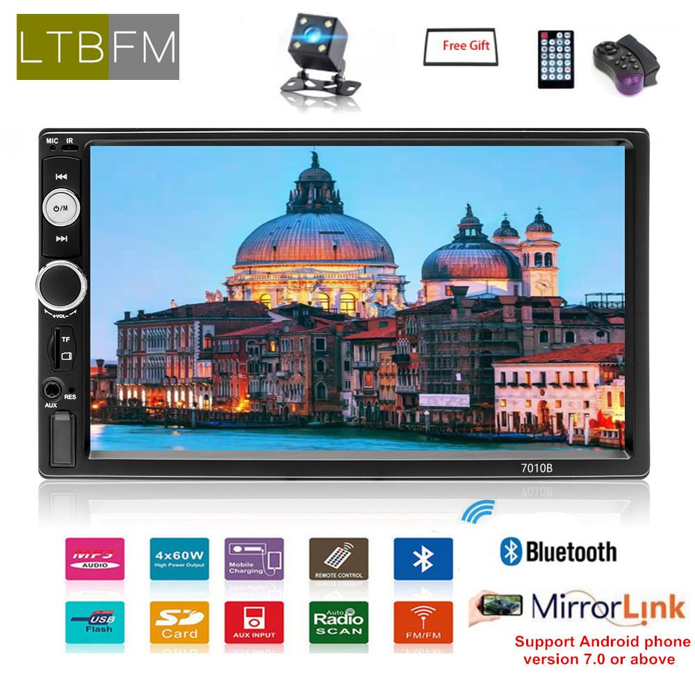 "7"" Multimedia player bluetooth autoradio 2 din car radio touch screen mp5 digital display 2din car stereo audio backup monitor"