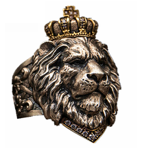 Punk Animal Crown Lion Ring For Men Male Gothic jewelry 7-14 Big Size(China)