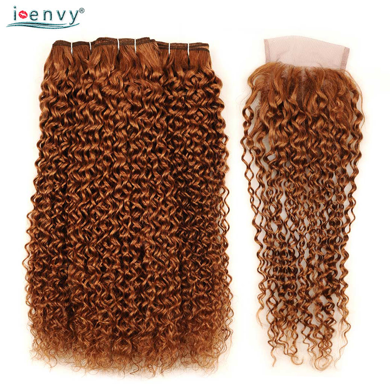 I Envy Blonde 3 Bundles With Closure Brazilian Hair Weave Bundles 30 Colored Afro Kinky Curly Bundles With Lace Closure Non-remy