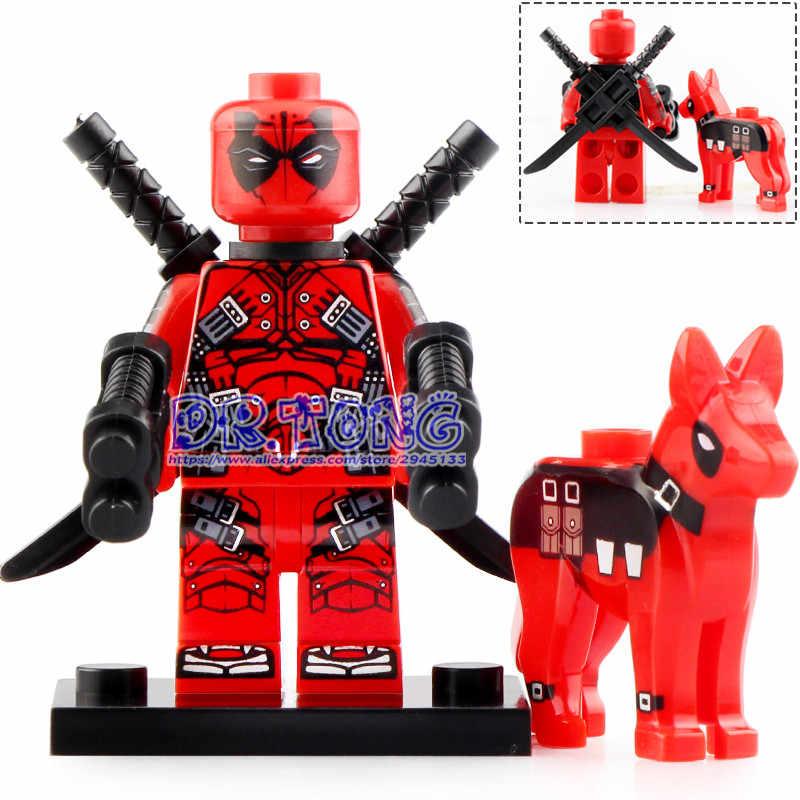 Single Sale Marvel Avengers Super hero figures Deadpool with dog Thanos  Iron Man set models Building Blocks toys KT1030
