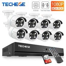 Techege 8ch 2mp poe ai câmeras sistema de áudio bidirecional detecção humana metal impermeável ao ar livre câmera de vídeo cctv sistema de câmera
