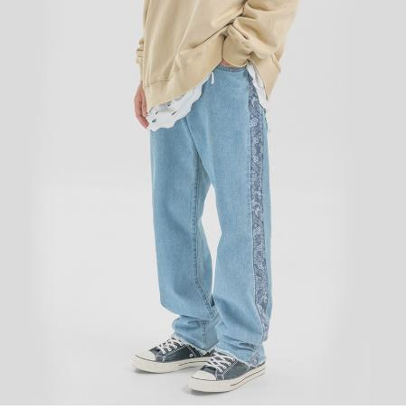 Men High Street Vintage Fashion Loose Casual Straight Jeans Male Hip Hop Splice Harem Denim Pants Cowboy Trouser