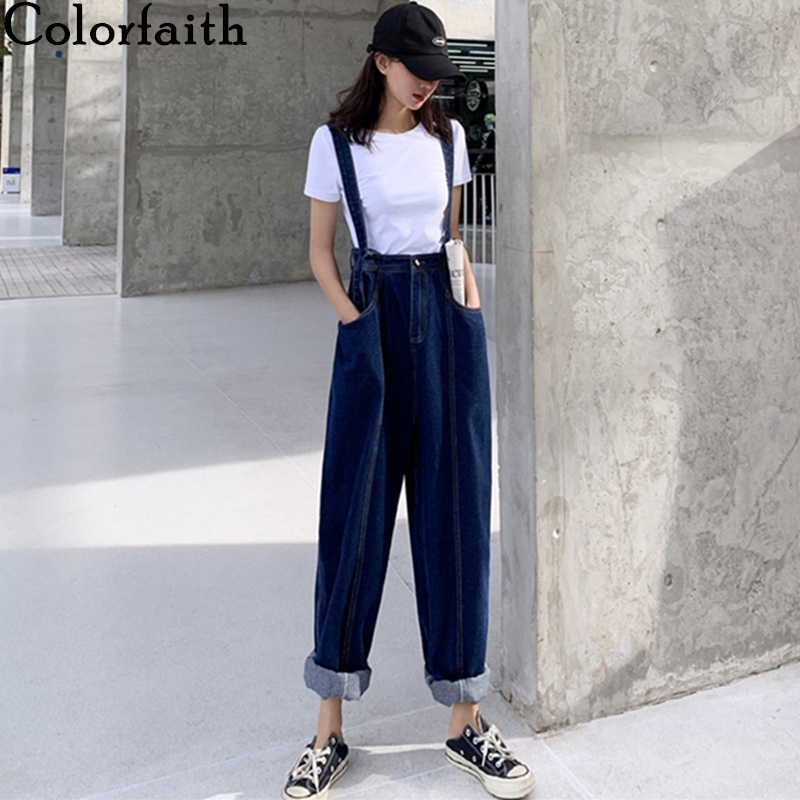 Colorfaith New 2020 Women Summer Jeans High Waist Casual Trousers Denim Overalls Streetwear Wide Leg Ankle-Length Pants J3787