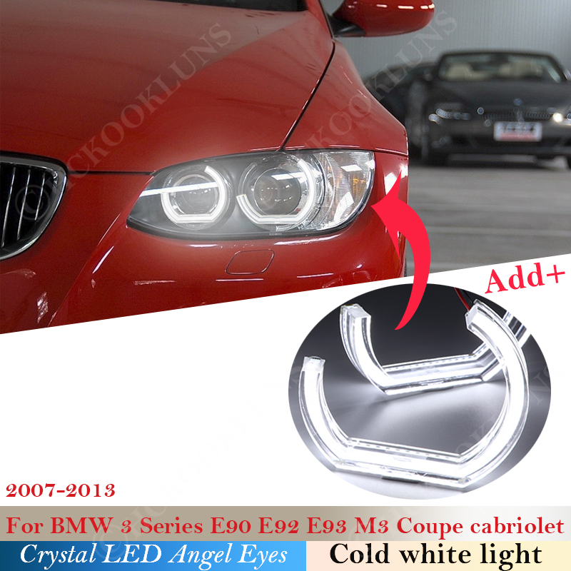 DTM Style Crystal LED Angel Eyes Halo Rings Light kits For BMW 3 Series E90 E92 E93 M3 2007-2013 Coupe cabriolet Xenon headlight image