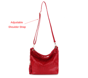 Image 4 - Snake Leather Women Shoulder Bag 2020 Female Serpentine Pattern Hobo Bag Tassel Women Handbag Purse Big Red Tote Ladies Hand Bag