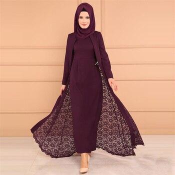 Two piece Sets Muslim Abaya Dress and Outwear Women Lace Slim Fit Long Sleeve Kimono