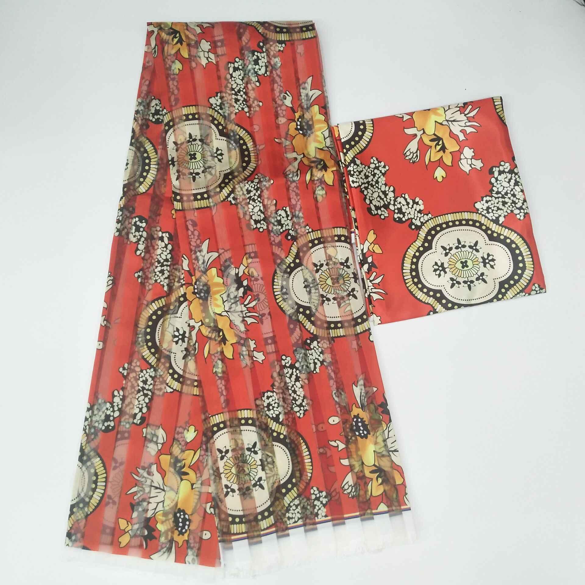 قماش شمع حرير أفريقي جديد مطبوع طباعة رقمية قماش شمع ساتان لفستان قماش حرير وشمع أفريقي مع طقم شيفون لفستان الحفلات