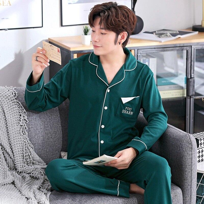 2020 Autumn Winter 100% Cotton Pajamas Sets For Men Long Sleeve Soft Comfortable Sleepwear Suit Homewear Loungewear Home Clothes