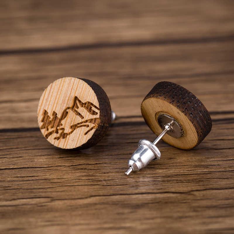 Oly2u nowa moda drewno kolczyki biżuteria śliczne mapa świata stadniny kolczyki Retro fala drzewo życia Earing Brincos czeska biżuteria 2020