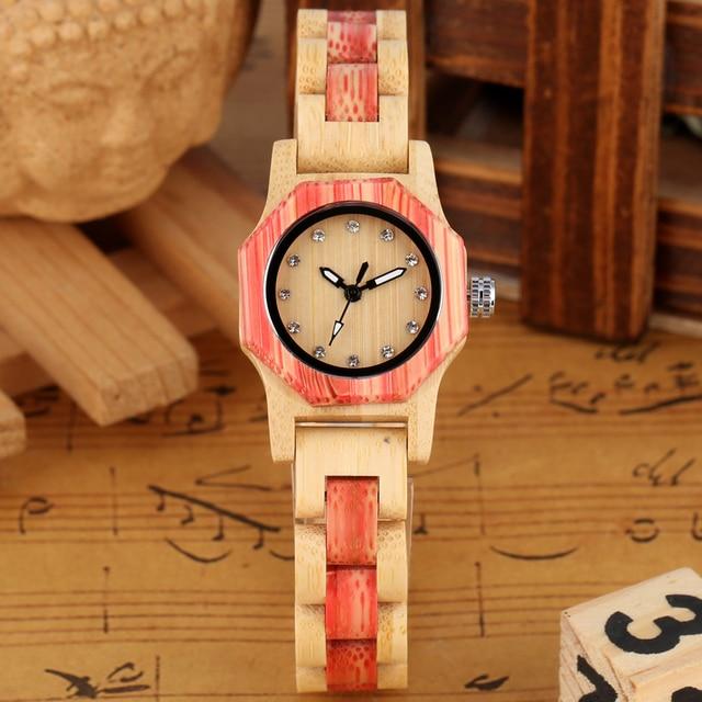 Vogue Octagonal Shape Wooden Watch Womens Crystal Diamond Dial Quartz Wristwatch Bamboo Wood Bracelet Hour Clock for Lady Girls