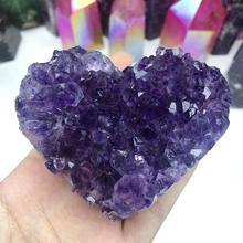 Аметист кластер сердце натуральный камень Минеральные Кристаллы