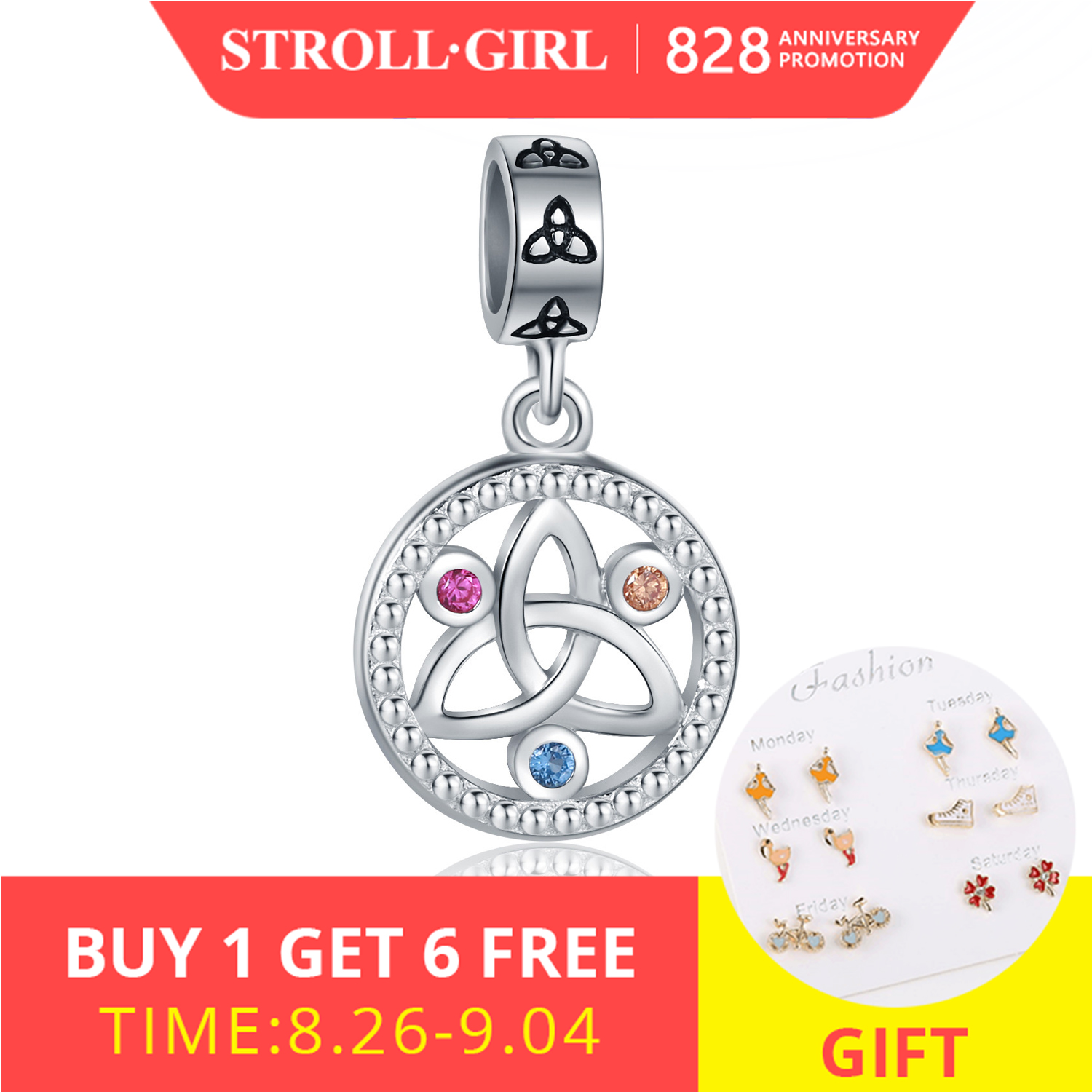 Strollgirl Pendant Pandora Bracelet Jewelry Charms-Fit 925-Sterling-Silver DIY Colorful
