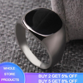 YANHUI Men Classic Style Black Obsidian Ring Never Fade Stainless Steel Wedding Party Rings For Size 7 8 9 10 11 12