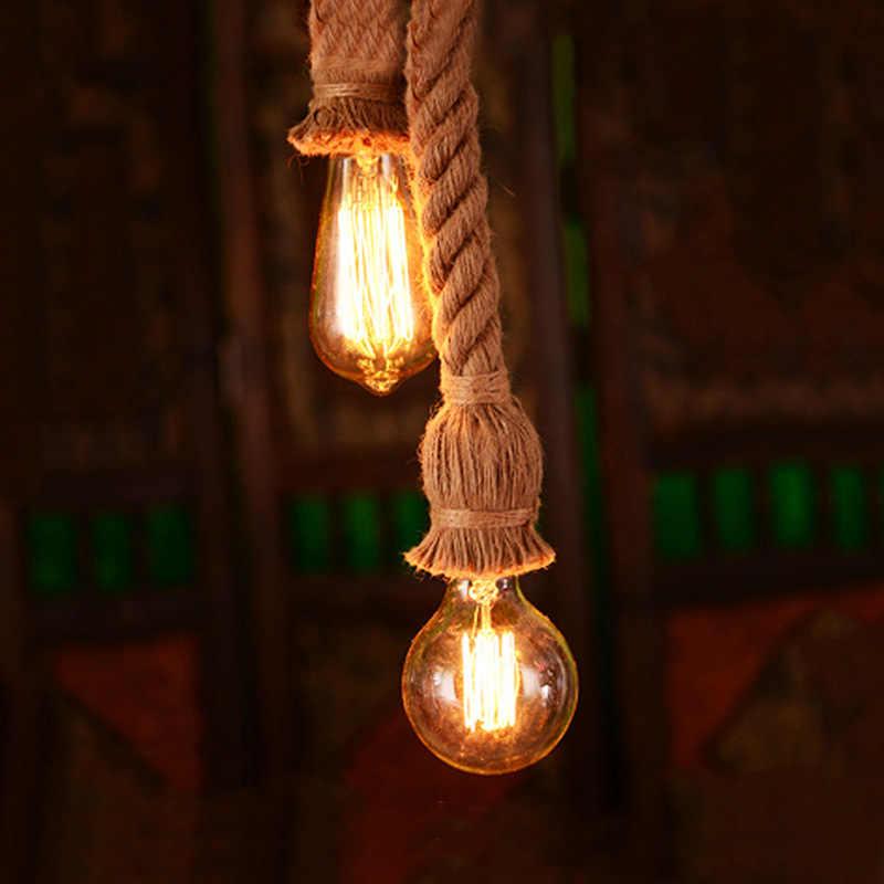 빈티지 로프 펜 던 트 조명 로프트 산업 램프 E27 에디슨 전구 아메리칸 스타일 거실 홈 장식 실내 조명 E27