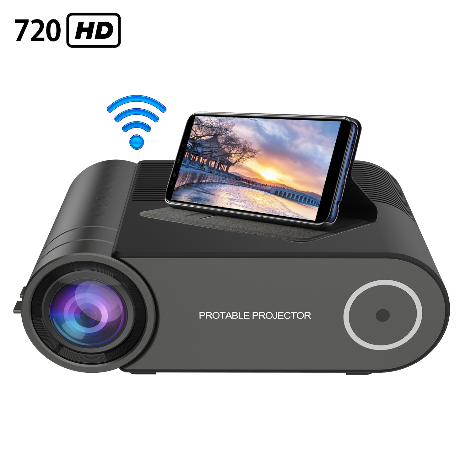 720P Portable LED <font><b>Mini</b></font> <font><b>HD</b></font> <font><b>Projector</b></font> for 1080P Wireless WiFi Multi-Screen Video <font><b>Projector</b></font> with Infrared Remote Control Function image