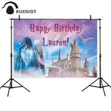 Allenjoy Porter birthday party background Black robe wizard Magic wand Seagull fantastic Hogwart castle photography backdrop
