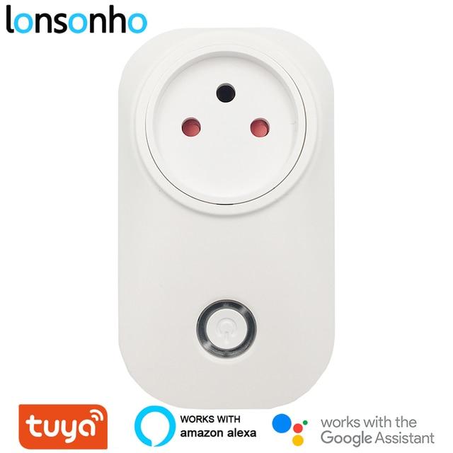Lonsonho Tuya Smart Plug WiFi Socket 16A Power Monitor Type M Israel 3 Pin with Ground Works With Alexa Echo Google Home Mini