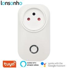 Lonsonho Tuya Smart Plug WiFi presa 16A Power Monitor tipo H 3 Pin tondo per israele funziona con Alexa Echo Google Home Mini