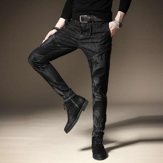 Free shipping new fashion men's male casual Original camouflage jeans men plus velvet autumn stitching pants male Slim Korean 30