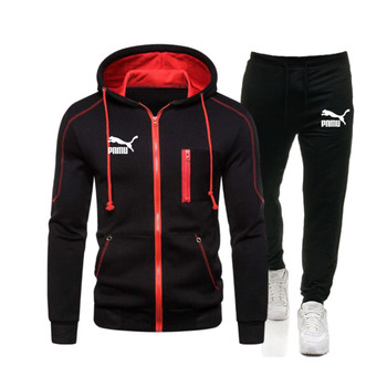 2020 Autumn winter Men's Sport Suits Zipper Hoodie Running Sets Male Casual Hooded Tracksuits Clothes Man Joggers FitnessTrainin
