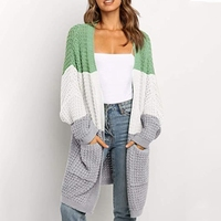 Women Batwing Long Sleeve Cardigan Knitted Open Front Color Block Sweater Coat