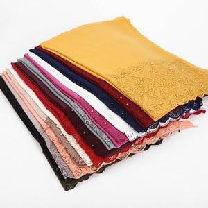 Image 3 - Foulard Floral en dentelle plissée, Hijab, châle, perles froissées, musulman, rouge, jaune, noir, blanc, écharpe de cheveux, nouvelle collection 2020