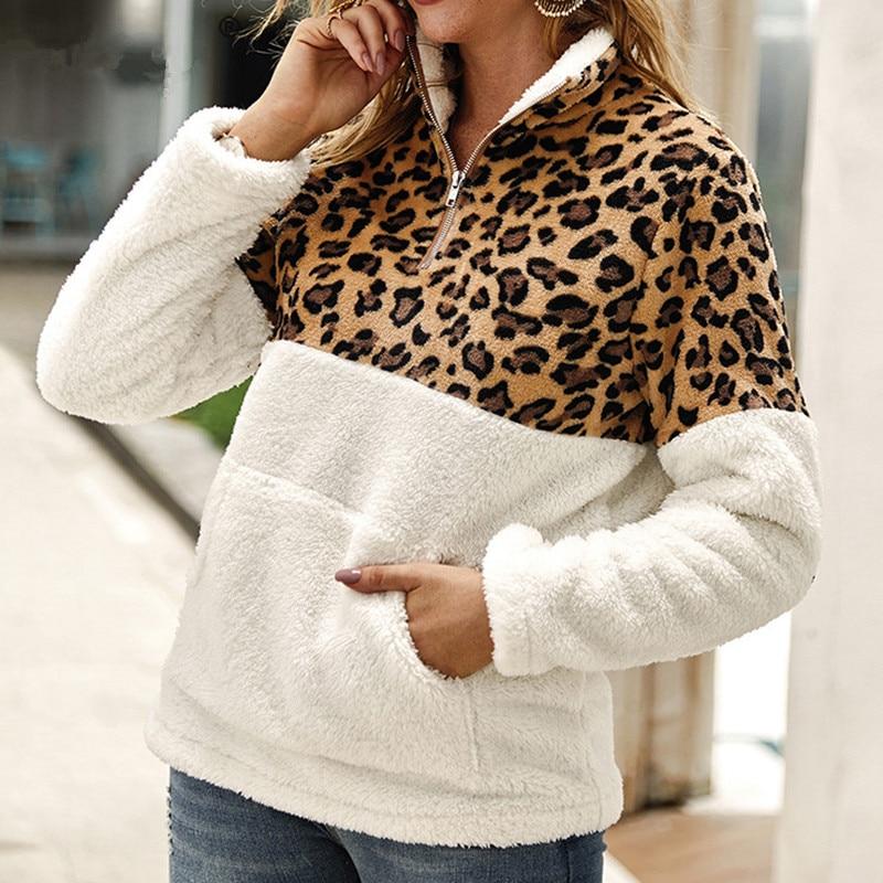ACEVOG Leopard Patchwork Faux Fur Sweatshirt Women Pockets Warm Fleece Casual Winter Oversized Hoodie Turtleneck Pullover