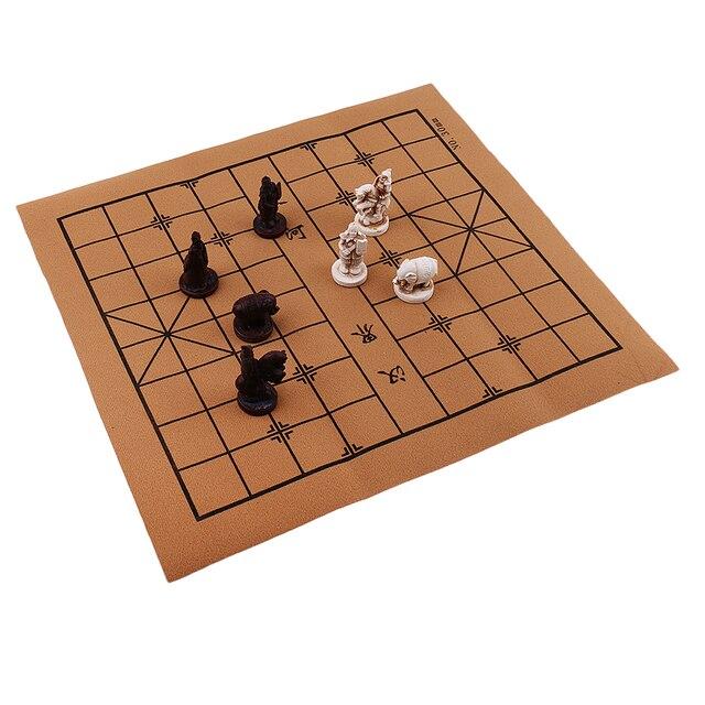 Portable Vintage chinois traditionnel échecs résine terre cuite armée Chese pièces artisanat objets de collection cadeau 4