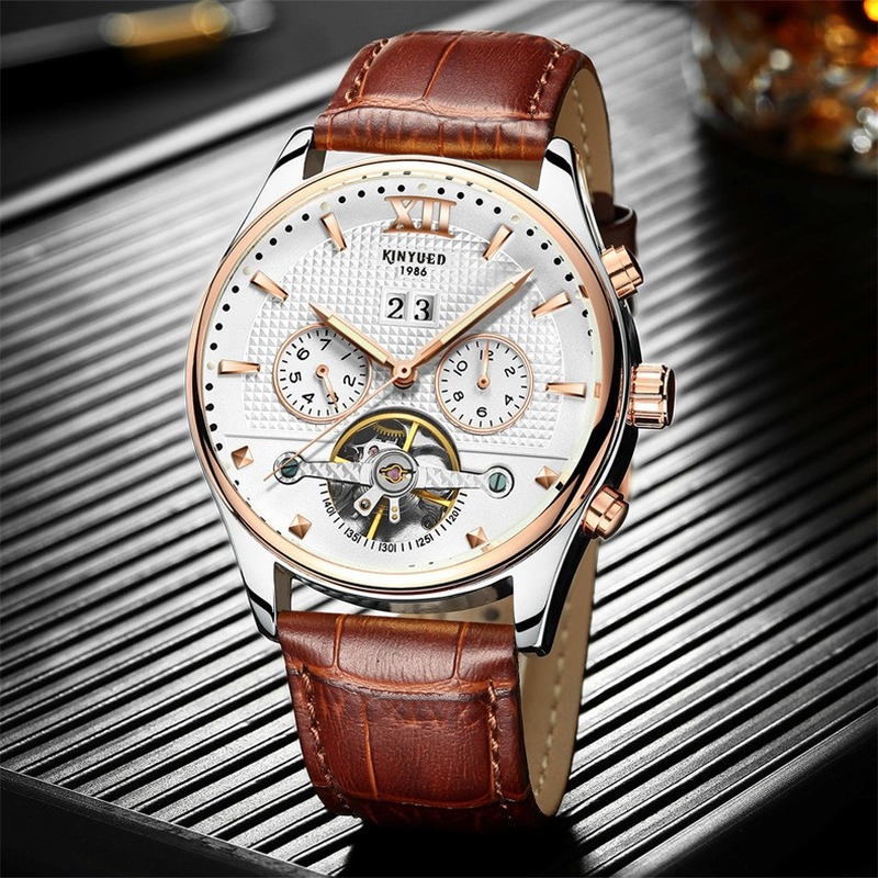 KINYUED Real Mechanical Watches Men Hot Fashion Automatic Tourbillon Leather Band Wristwatches Gold Reloges Skeleton Hand Watch|Mechanical Watches| |  - title=