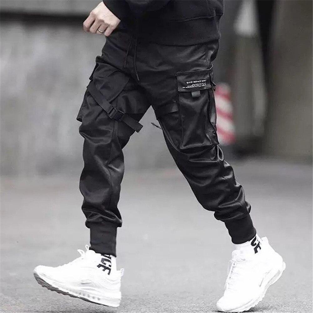 Men Ribbons Color Block Black Pocket Cargo Pants 2019 Harem Joggers Harajuku Sweatpant Hip Hop Trousers Black Street Dance Pant