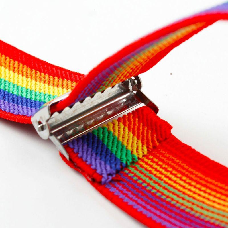 Children Rainbow Strap Clip Colorful Striped Baby Suspenders Belt Boys And Girls Fashion Straps Anti-drop Belts Buckle U90E