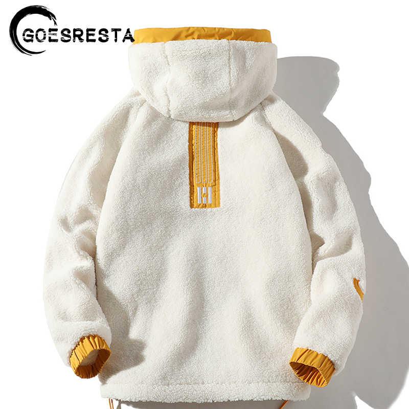 GOESRESTA 2020 yepyeni erkek çift taraflı ceket moda vahşi sonbahar ve kış Streetwear gevşek sıcak ceket ceket erkekler
