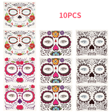 10pcs/set Day of The Dead Makeup Mask Face Sticker Halloween Cool Beauty Waterproof Tattoo Set for Cosplay Party