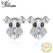 Schnauzer Dog Genuine Black Spinel Stud Earrings 925 Sterling Silver for Women Gem Korean Fashion Jewelry 2020